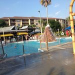 Another of the water park logoon with bar and grill in the background