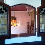 The stained glass window in our room (Rose Room).
