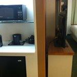 Microwave, fridge and coffee maker