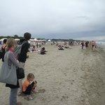 Praia do Lido. Apesar do frio, havia banhistas.
