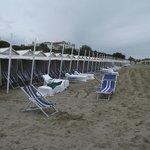 Casinhas para banhistas na praia do Lido.