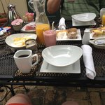 Continental breakfast served in our courtyard