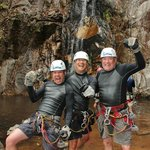3 Amigos conquer rappelling dow the waterfall.