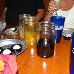 glass jars of drinks