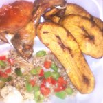 Fried rice and pork chop dinner