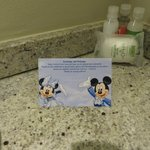 Welcome card with H2O toiletries