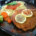 Cordon Bleu - stuffed with parma, taleggio and mushrooms, served with Spaghetti and Vegetables