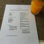 Breakfast menu with passion fruit juice