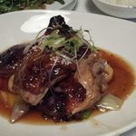 Crispy skin duck with ginger stir fry...beautifully cooked
