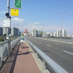 Crossing Sogang Bridge by bike