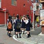 Japanese schoolgirls in Chinatown.