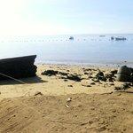Schäden am Strand (bei abnehmendem Wasser) nach dem Unwetter Mitte Mai 2014