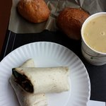 Blackbean-Spinach Wrap, Lemon Chicken Soup & Cream of Mushroom Soup