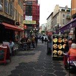 Pedestrian streets full of restaurants right under the hotel