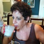 My sister in law sampling the Ramos Gin Fizz!  It was awesome!!!