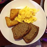 Scrambled Eggs, Hash Browns and Brown Bread
