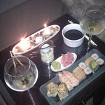 Enjoying sushi in our room