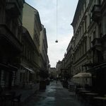 View down the street to the Opera House (Hajos utca). Apartment is just to the left of this pict