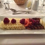 Fruit salad, created on demand by the chef at The Feathers