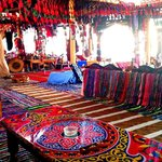The colorful inside of Marasi Tent