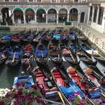 Gondolas waiting for the day - view from the 'Canal view' room