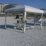 The cabana setup on the beach