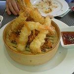 Langostinos en tempura