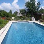 vue piscine chaumiere