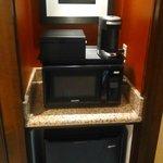 Coffee maker, fridge, microwave