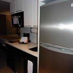 Kitchenette, micriwave, cooker, sink, coffee maker, washing machine