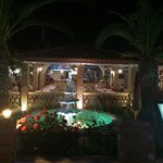 Scenery; water fountain, palm trees and outside seating area