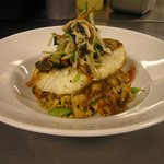 Seared Striped Bass with Shrimp Fried Rice and Asian Slaw