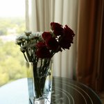 lovely flower arrangement and the view from my room