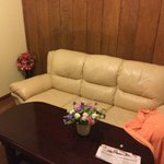 panelling, fake flowers, old pleather couch