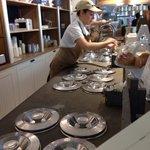 Staff making gelato.