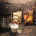 This is rare! A full sized coffee maker with real bags of custom-label local coffee.
