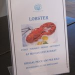 The hotel is also serving Lobster per kilo....