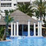 Lagoon pool: roped off pool bar where they film Benidorm