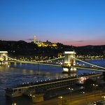 Night view of the Chain Bridge and the Danube from our room