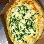 White pizza with broccoli