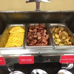 Good hot breakfast. Western Omelets, sausage, hash browns, real oatmeal with a selection of frui