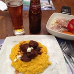 Risotto and lomo, ceviche and cusqueña roja!