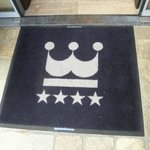 The welcome mat, just outside of the front door of the hotel