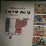 Sign at the entrance of the Ancient World Exhibit