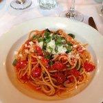 Spaghetti Napoli with fresh cherry tomatoes