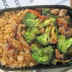 Beef and Broccoli combination with Chicken Fried Rice.