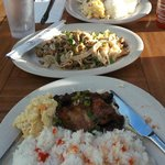 From front to back: shoyu chicken, chow funn, kalua pork