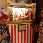 Storyteller and Punch and Judy, with Tigery-Bunting children's character