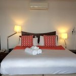 king size bed in the premium waterfront room