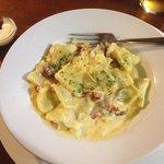 Spinach and ricotta ravioli which chorizo and white wine sauce.